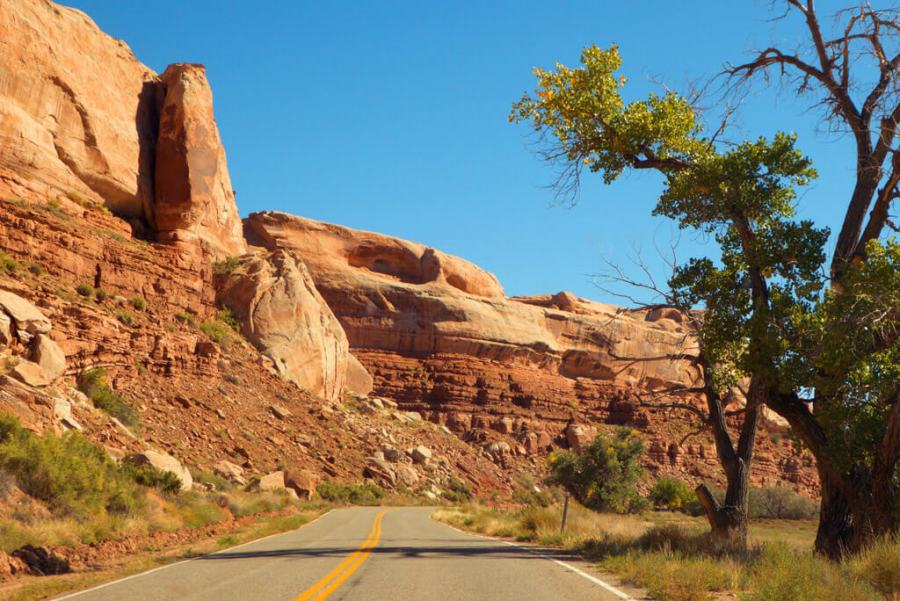 Driving out of Bluff, Utah