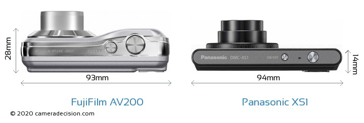 FujiFilm AV200 vs Panasonic XS1 Size Comparison