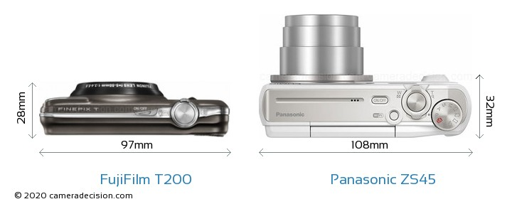 FujiFilm T200 vs Panasonic ZS45 Detailed Comparison