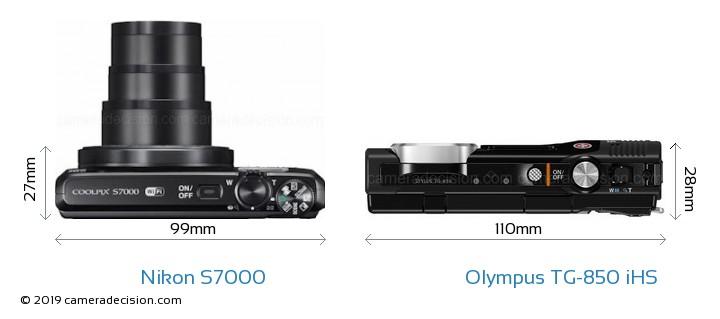 Nikon S7000 vs Olympus TG-850 iHS Size Comparison