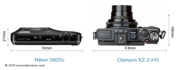 Nikon S800c vs Olympus XZ-2 iHS Detailed Comparison