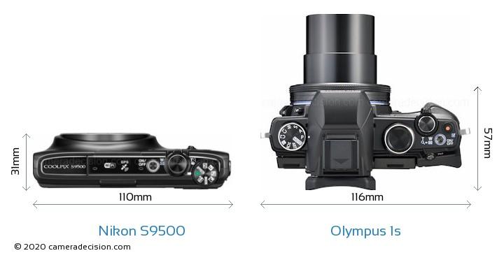 Nikon S9500 vs Olympus 1s Size Comparison