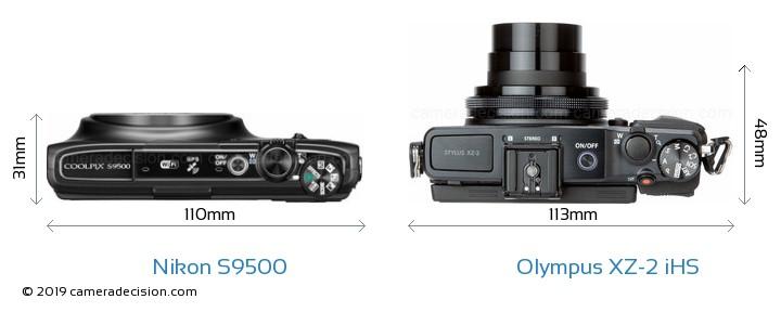 Nikon S9500 vs Olympus XZ-2 iHS Size Comparison