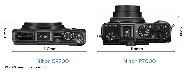 Nikon S9700 vs Nikon P7000 Size Comparison