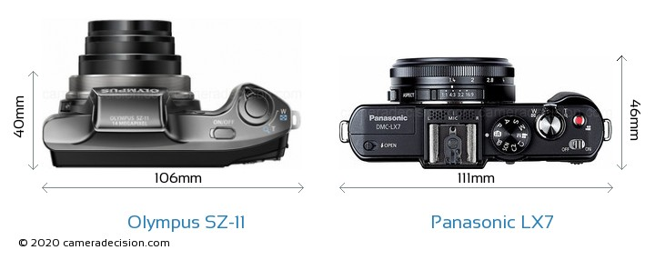 Olympus SZ-11 vs Panasonic LX7 Size Comparison