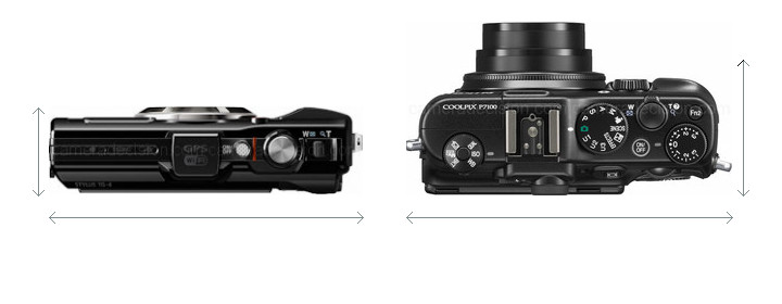 Olympus TG-4 vs Nikon P7100 Size Comparison