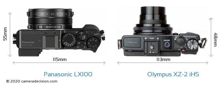 Panasonic LX100 vs Olympus XZ-2 iHS Size Comparison