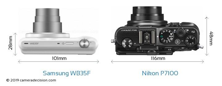 Samsung WB35F vs Nikon P7100 Size Comparison