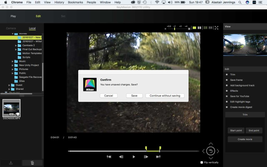 Nikon KeyMission 360/170 Utility - Save new clip