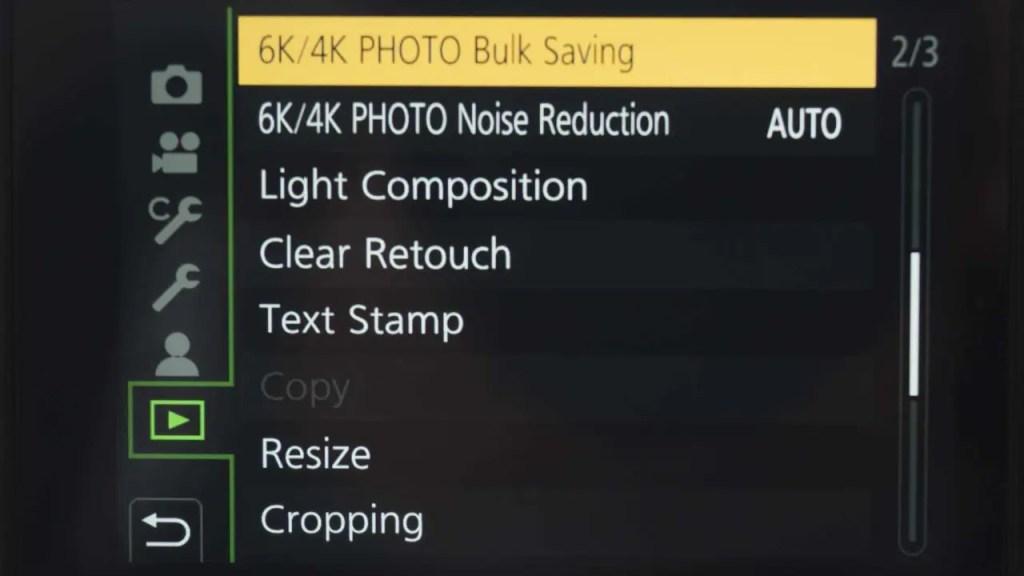 GH5 6K Photo bulk saving screen