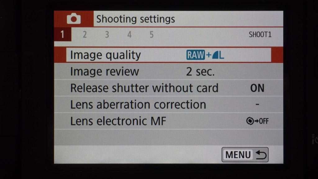 Canon 800D Guide Mode Menu screen