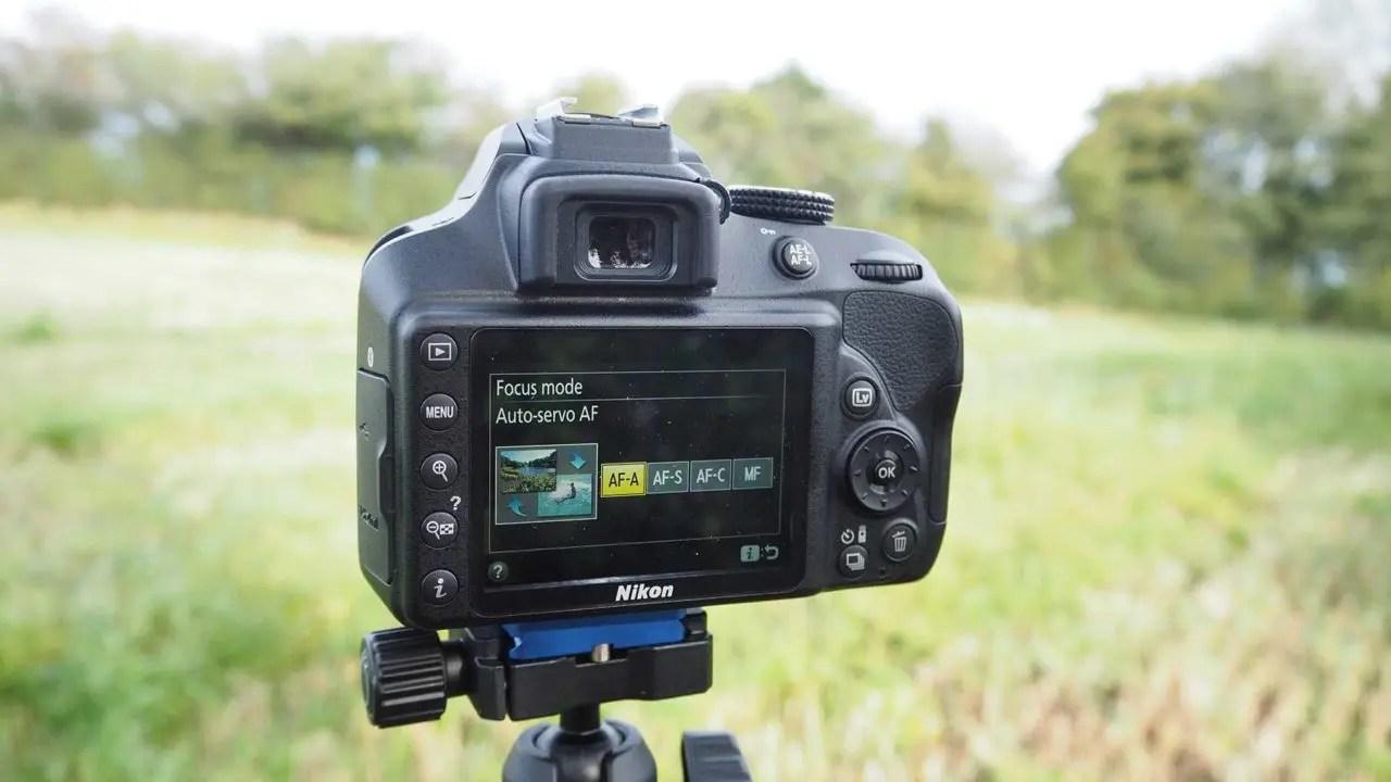 How to set the Nikon D3400 focus mode: select AF mode option