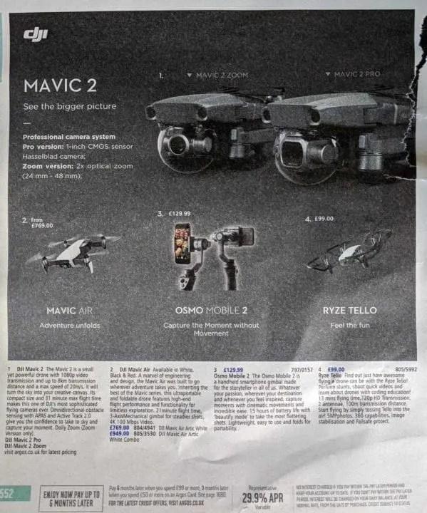 DJI Mavic 2, Mavic 2 Pro, Mavic 2 Zoom revealed in Argos catalogue