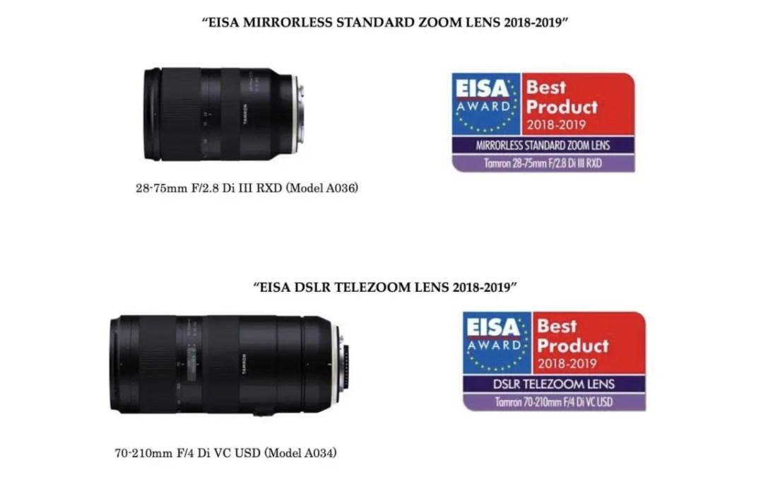 Tamron lenses awarded two 2018 EISA Awards