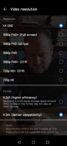 Best settings for the Huawei P30 Pro: set video resolution