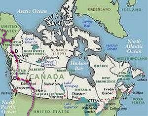 Map of Canada. Stars indicate where we've been.