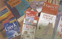 photograph of travel books