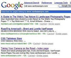 google link search checks which pages link to you