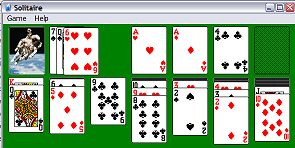 Screen shot of the solitare card game that comes with Microsoft Windows