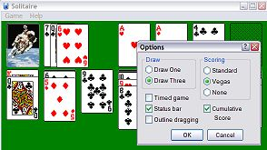 Solitare card game with the options menu showing