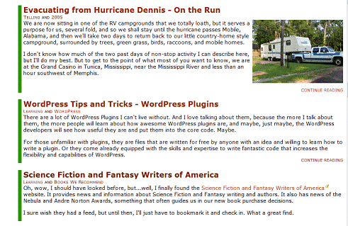 View of excerpts on front page of our website