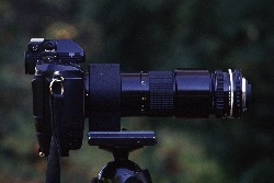 A stacked lens features a 200mm lens with a reversing lens mounted on the end.