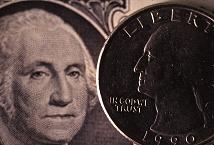 Depth of Field test of quarter against dollar bill at f2.8, photograph by Brent VanFossen