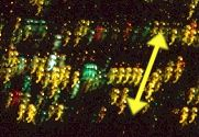 Magnification of camera shake on city at night.