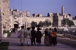 During the holy days, you will find many of the religious wearing traditional clothing. Jaffa Gate, photo by Lorelle VanFossen