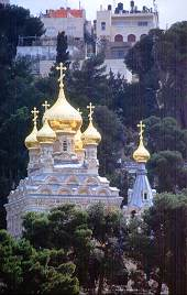 Russian Orthodox Church in Jerusalem rests in the valley between the old city and the Mount of Olives. Photo by Lorelle VanFossen