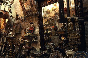 Inside one of the many metals souvenier and antique shops in the Old City of Jerusalem, photo by Brent VanFossen