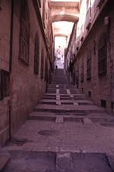 Sloping narrow street in the Old City of Jerusalem