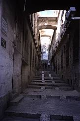 Looking up a sloped street in Jerusalem. Photo by Brent VanFossen