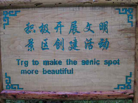 Bad English Sign from China - Trg to make the senic spot more beautiful