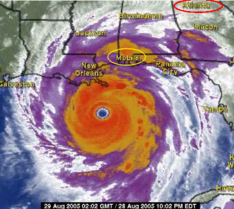 weather.com satellite image of hurricane katrina