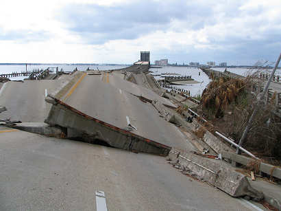 Highway 90 Bridge between Ocean Springs and Biloxi destroyed