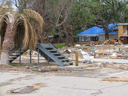 Apartment complex destroyed except for metal stair case - Ocean Springs, Mississippi