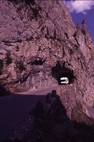 Northern Spain rented motor home comes out of tunnel in mountains, photograph by Lorelle VanFossen