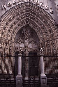 Facade of the main entry to the cathedral, Toledo, Spain, photograph by Brent VanFossen