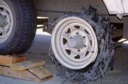 Shredded tire from our trailer, photo by Lorelle VanFossen