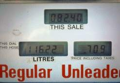 Highest price for gas in Canada on Alaska Highway, photograph by Lorelle VanFossen