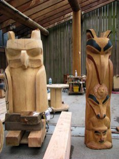 granville island totems 2 in process of carving by lorelle vanfossen