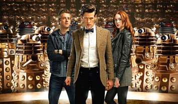doctor who - matt smith and team with daleks