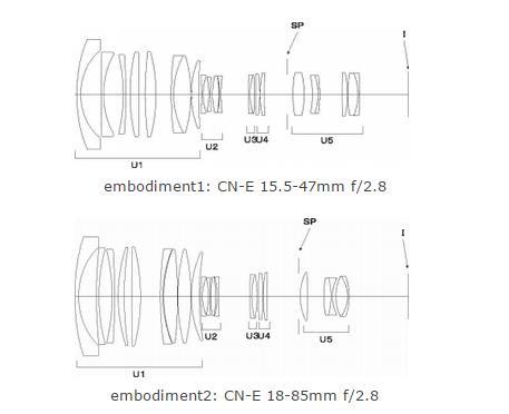 New Canon Cine Lens Patents: CN-E 18-85mm f/2.8, CN-E 15.5