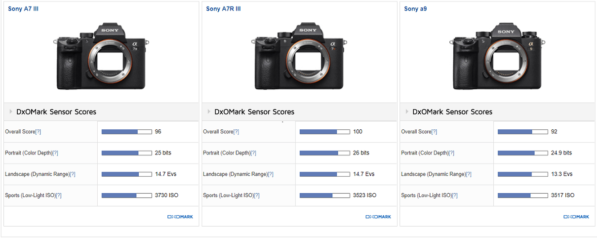 Sony a7 III Achieved an Overall DxOMark Sensor Score of 96