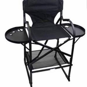 Foldable Professional Makeup Artist Chair Director Stool with Double Sided Tray and Bag