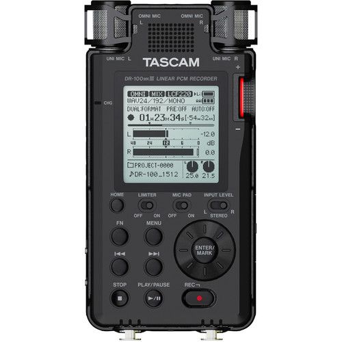Tascam DR-100mkIII 2-Input / 2-Track Portable Audio Recorder with Onboard 4-Mic Array