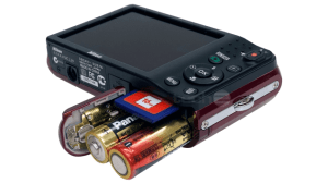 Nikon L28 Manual - camera with battery slot opened