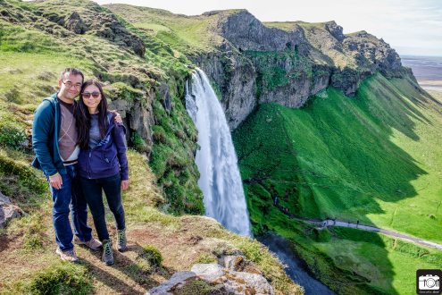 On top of the Seljalandsfoss Waterfall