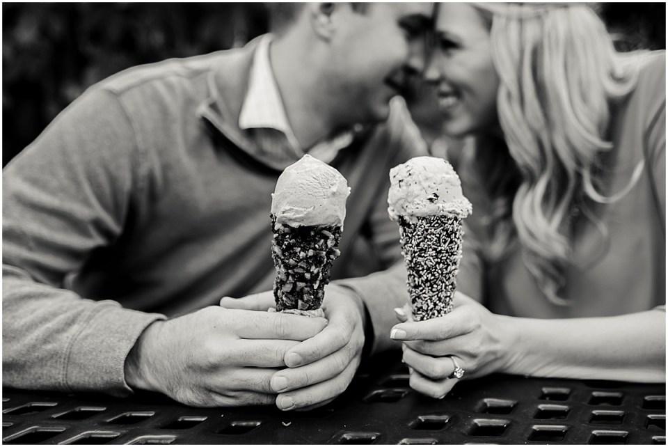 Lake Harriet Fall Engagement Session with Sebastian Joe's Ice Cream